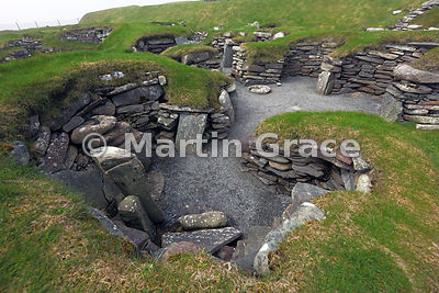 Oldest settlement structures at Jarlshof, dating from the Bronze Age and early Iron Age, Sumburgh, Shetland