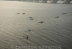 Aerial photograph of crew practice on the Potomac River