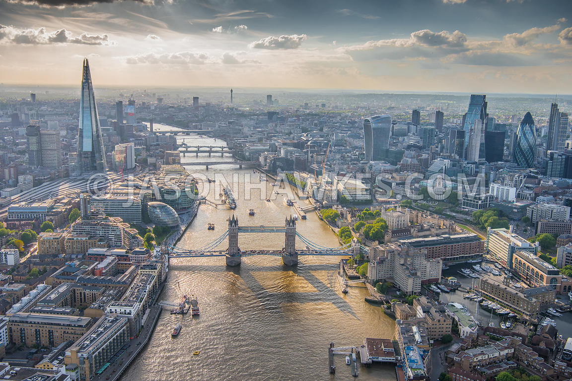 Aerial view of London, The Shard and Shad Thames with Tower of London.