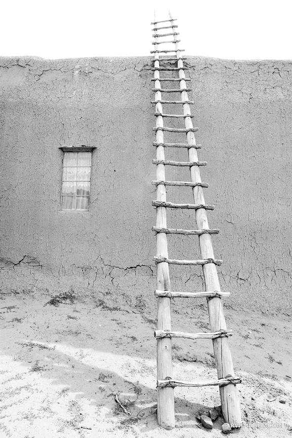 SAN LORENZO CHURCH PICURIS PUEBLO NEW MEXICO BLACK AND WHITE