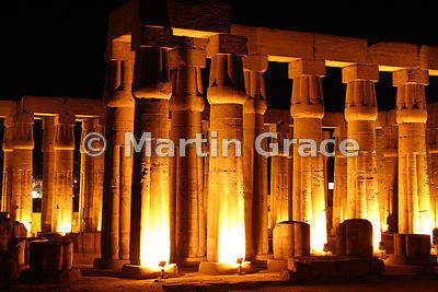 Luxor Temple - Solar Court of Amenophis III illuminated at night, Egypt