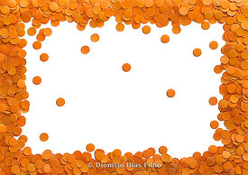 Orange confetti on white background.