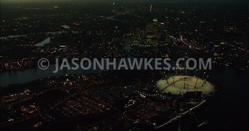 London Aerial Footage O2 Arena at night.