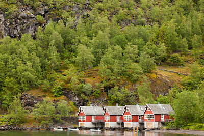 Traditional Red Houses on the Waters Edge  with Hillside of Trees Behind