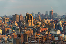 A view of Manhattan looking South and East from 34th street on the west side in New York City.
