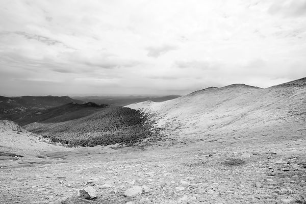 MOUNTAIN TUNDRA MOUNT EVANS ROAD SCENIC BYWAY ROAD COLORADO ROCKIES BLACK AND WHITE