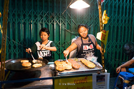 A food vendor in the Chinatown of Bangkok, Thailand during Chinese Vegetarian Festival.