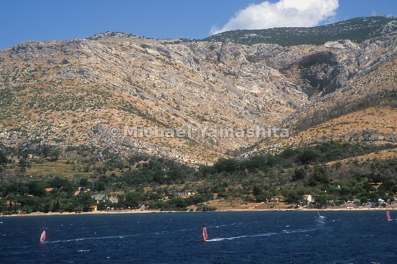 Windsurfing in the Strait of Peljesac, Croatia.