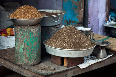 Tobacco for sale at a shop in Bundi, Rajasthan, India