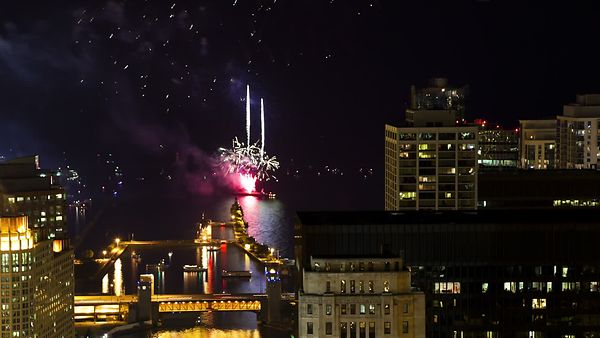 Bird's Eye: Navy Pier Fireworks & Boat Scatter