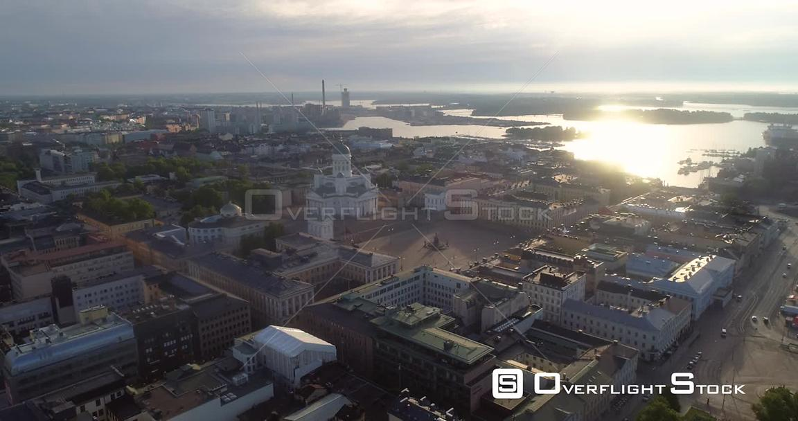 Helsinki Cathedral, Aerial Sideway View of the Cityscape and the Church, on a Sunny Summer Morning Dawn, in Helsingfors, Uusimaa, Finland