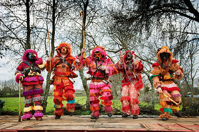 A group of Caretos dancing during the Winter Solstice Festivities. Salsas, Trás-os-Montes. Portugal