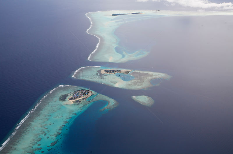 Aerial view of coral atolls, Maldives, December 2009