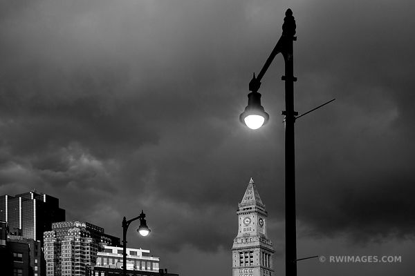 STORMY SKIES OVER BOSTON BLACK AND WHITE CUSTOM HOUSE TOWER DOWNTOWN