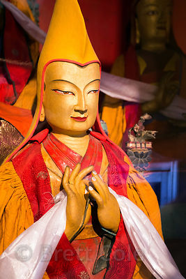 Buddhist figure in Spituk Gompa, Leh, Ladakh, India