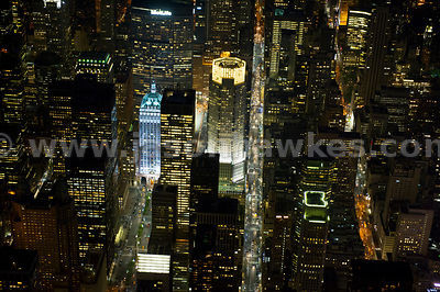 Night aerial view looking down onto The Helmsley Building at 230 Park Avenue on the left and 383 Madison Avenue on the right of the image