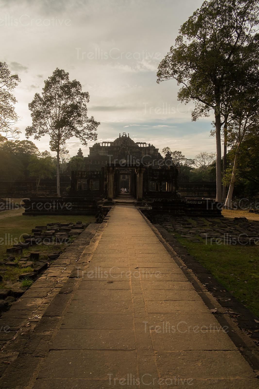 The Terrace of the Elephants is part of the walled city of Angkor Thom, a ruined temple complex in Cambodia