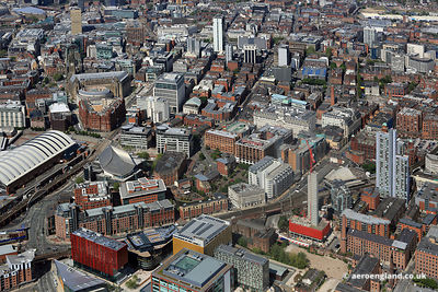 aerial photograph of Whitworth St West.Manchester England UK.