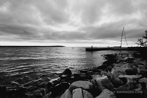 ROCK ISLAND DOOR COUNTY WISONSIN BLACK AND WHITE
