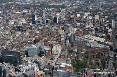 panoramic cityscape aerial photograph  Manchester England UK.