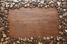 Background of Wood and Pieces of Coconut Husk.