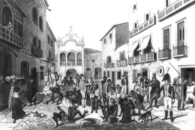 Slave market at Pernambuco, Brazil in early 1820s