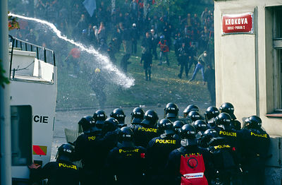 Czech Republic - Prague - Police charge and use water cannon