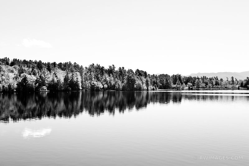 LAKE PLACID ADIRONDACK MOUNTAINS BLACK AND WHITE