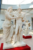 "Marble statue of a couple as Venus and Mars. Behind Hadrian as Mars. ""Portraits. The Many Faces of Power"" Exhibition"