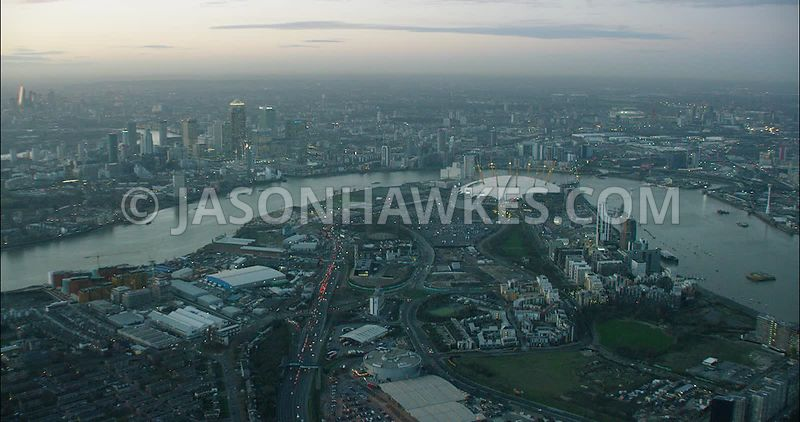 London Aerial Footage Greenwich Peninsula and River Thames.