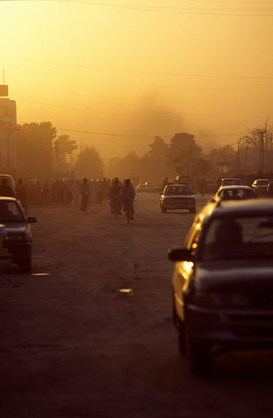 Sunset and traffic, Mazar-i-Sharif, Afghanistan