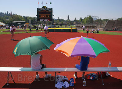 "Participants in a track meet in EUgene, Oregon. Eugene is known as ""Tracktown USA."""