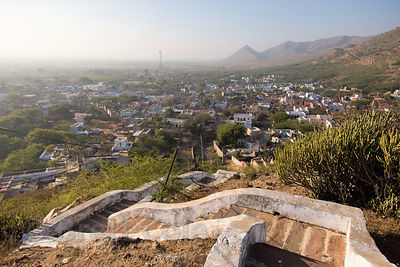 I think this is the only photograph ever published of this beauiful view of remote Narwar village (from the local hilltop temple) and the Aravali Range, Rajasthan, India