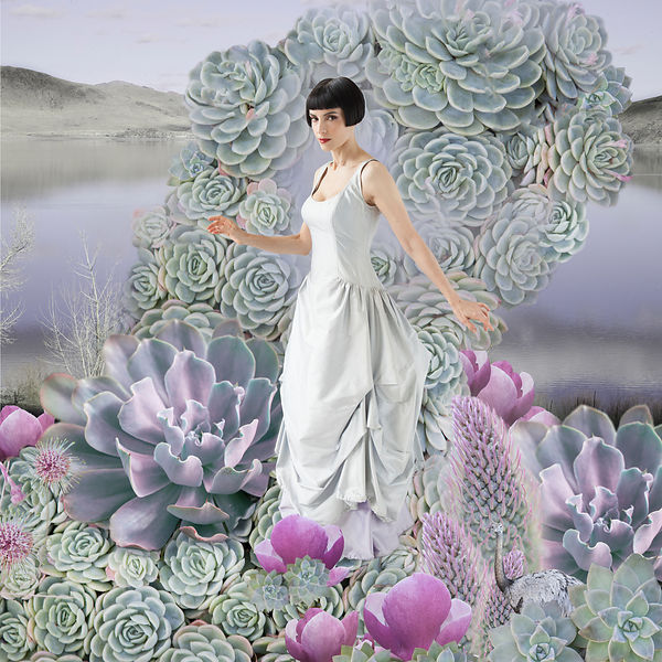 woman with flowers and succulents
