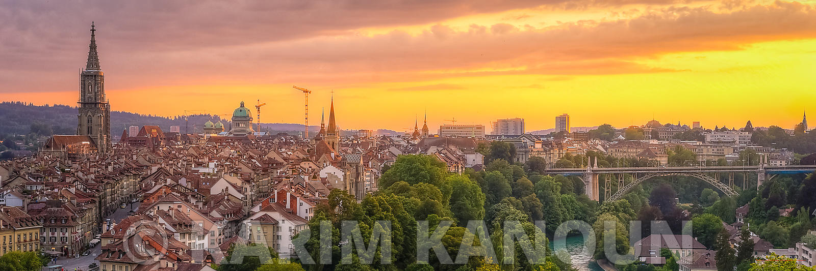 Panorama - Golden Sunset - Bern