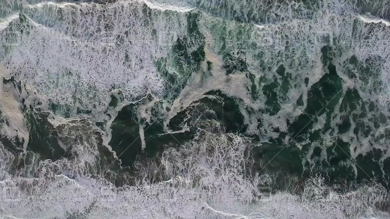 Overhead Coastal Waves Ocean Birds-eye-view green foamy
