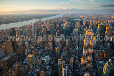 Aerial view of the skyscrapers in Midtown Manhattan including the Empire State Building