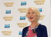 "Helen Mirren and Director Simon Curtis at a photocall for the film ""Woman in Gold"""