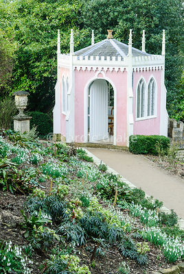 Pink and white Eagle House. Painswick Rococo Garden, Painswick, Glos, UK