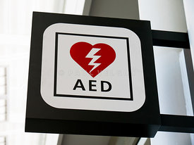 AED Emergency Defibrillator Sign Picture