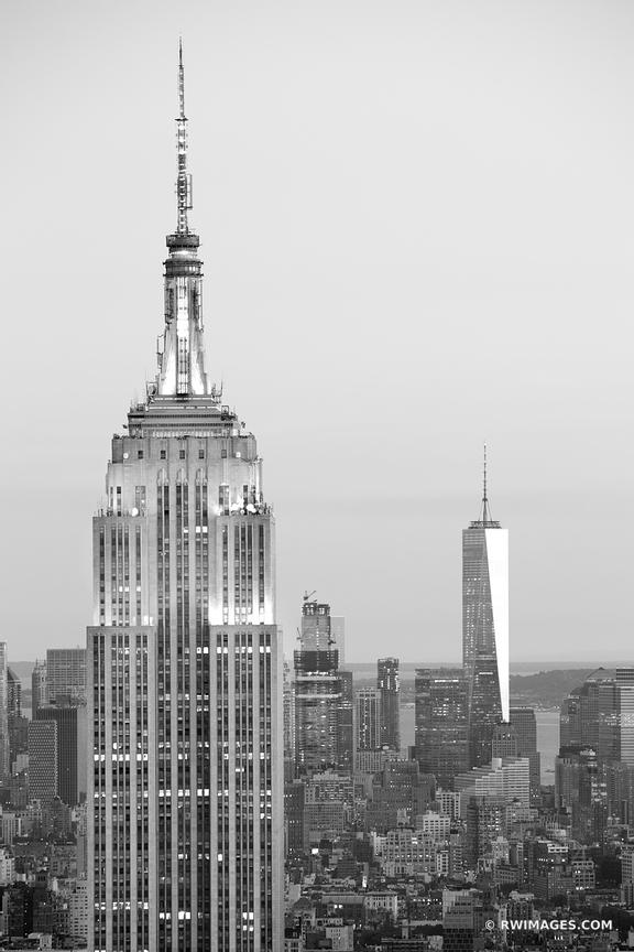 EMPIRE STATE BUILDING MANHATTAN NEW YORK CITY EVENING BLACK AND WHITE VERTICAL