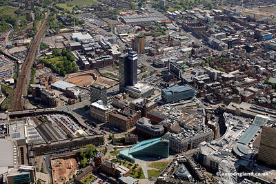 aerial view of  the area arounfd the CIS building in Manchester