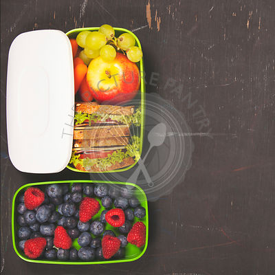 Sandwich, apple, grapes, carrot, berry in plastic lunch box on black chalkboard. Back to school concept.