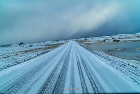A snow covered road along Iceland's south coast.