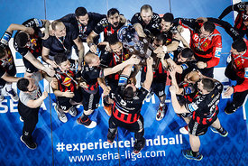 Players of Vardar during the Final Tournament - Final Four - SEHA - Gazprom league, Gold Medal Match Vardar - Telekom Veszprém, Belarus, 09.04.2017, Mandatory Credit ©SEHA/ Stanko Gruden..
