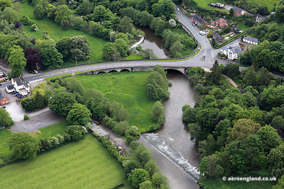 "aerial photograph of ""The Hanging Bridge""  Mayfield Staffordshire England UK."