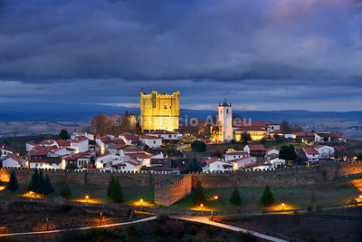 The castle and the 12th century medieval citadel of Braganca at dusk. Tras-os-Montes, Portugal