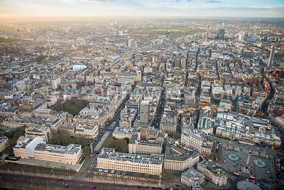 Aerial view of London, St James's Square and Trafalgar Square.