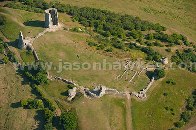 Aerial view over Hadleigh Castle