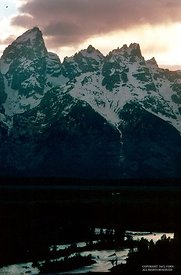 Tetons at  sunset, Snake River